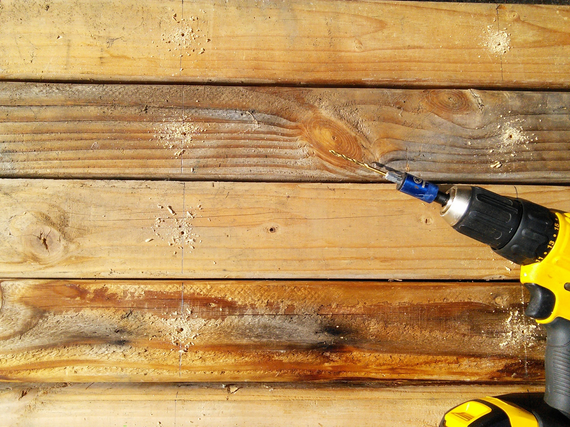 Drilling pilot holes for the screws